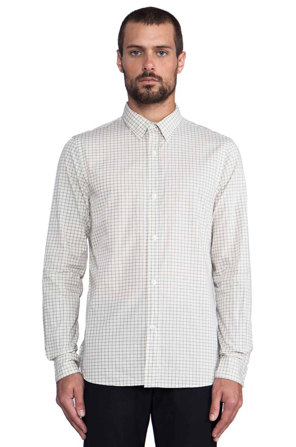 Steven Alan Classic Point Collar Shirt in Navy Grid