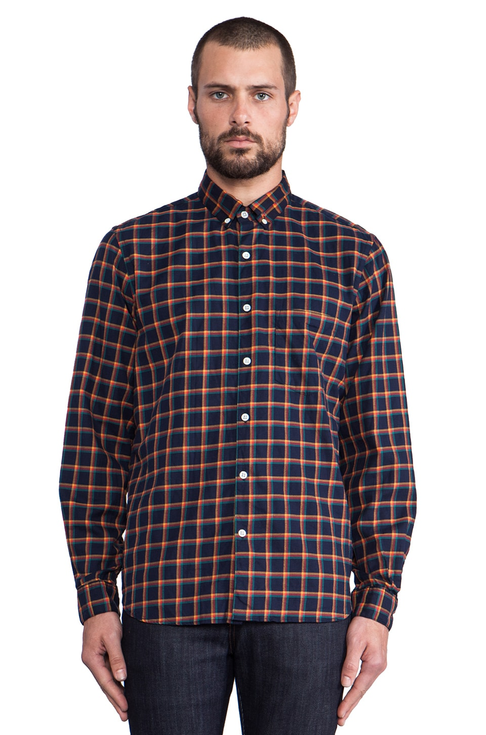 Steven Alan Single Needle Shirt in Navy & Multi Check