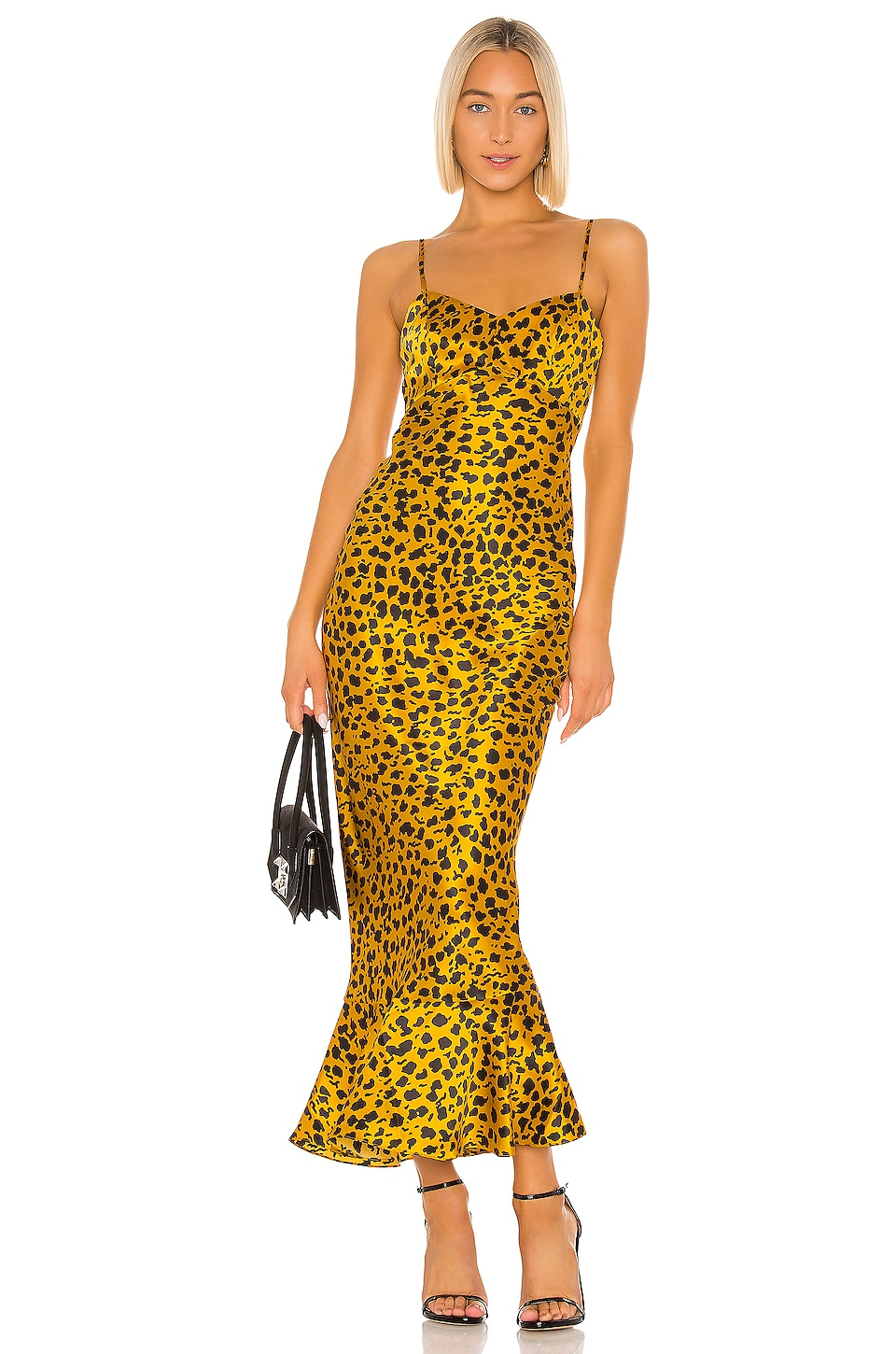 SALONI Mimi Dress in Gold Camo Leopard