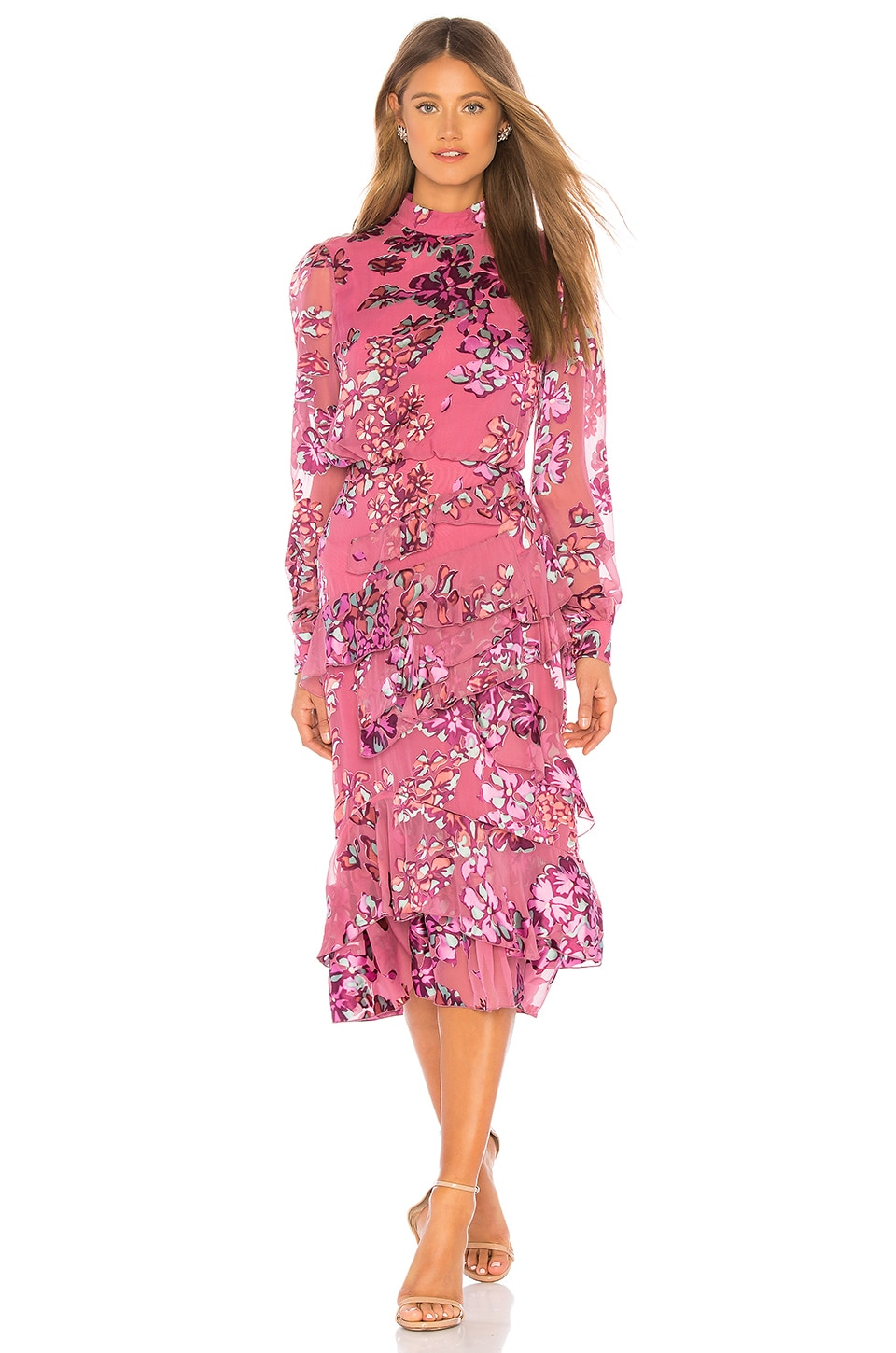 SALONI Isa Ruffle Dress in Pink Insignia
