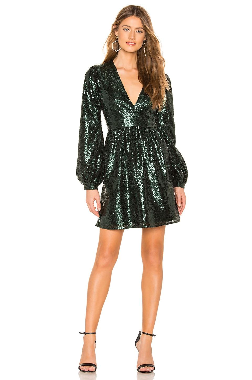 SALONI Camille Mini Dress in Dark Green