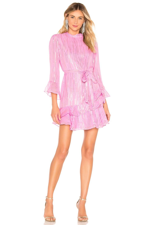 SALONI Marissa Mini Dress in Candy Pink Metallic