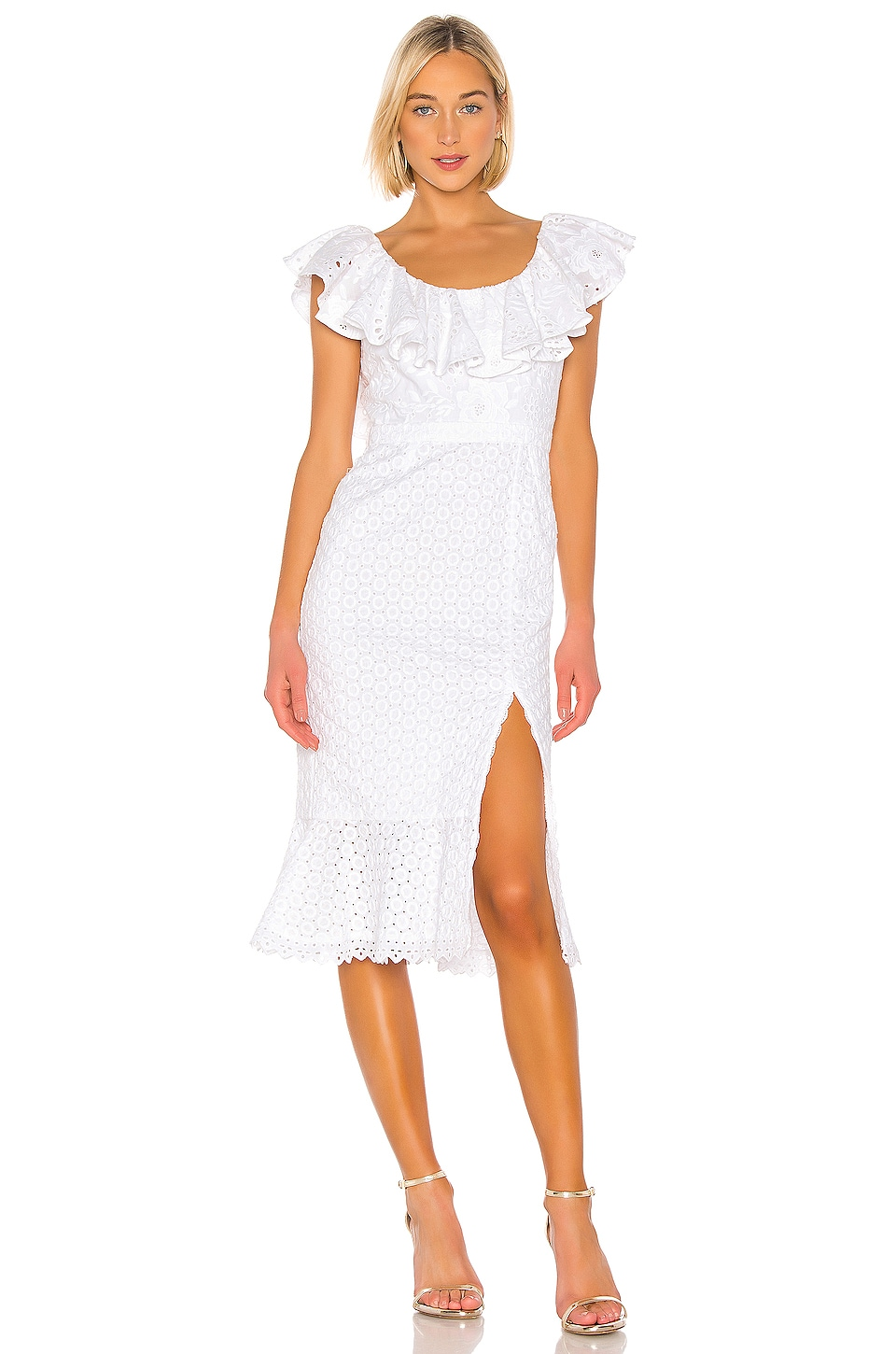 SALONI Ella Cotton Dress in White