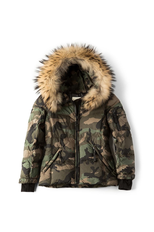 SAM. Camo Blake Jacket with Asiatic Raccoon Fur in Olive Camo