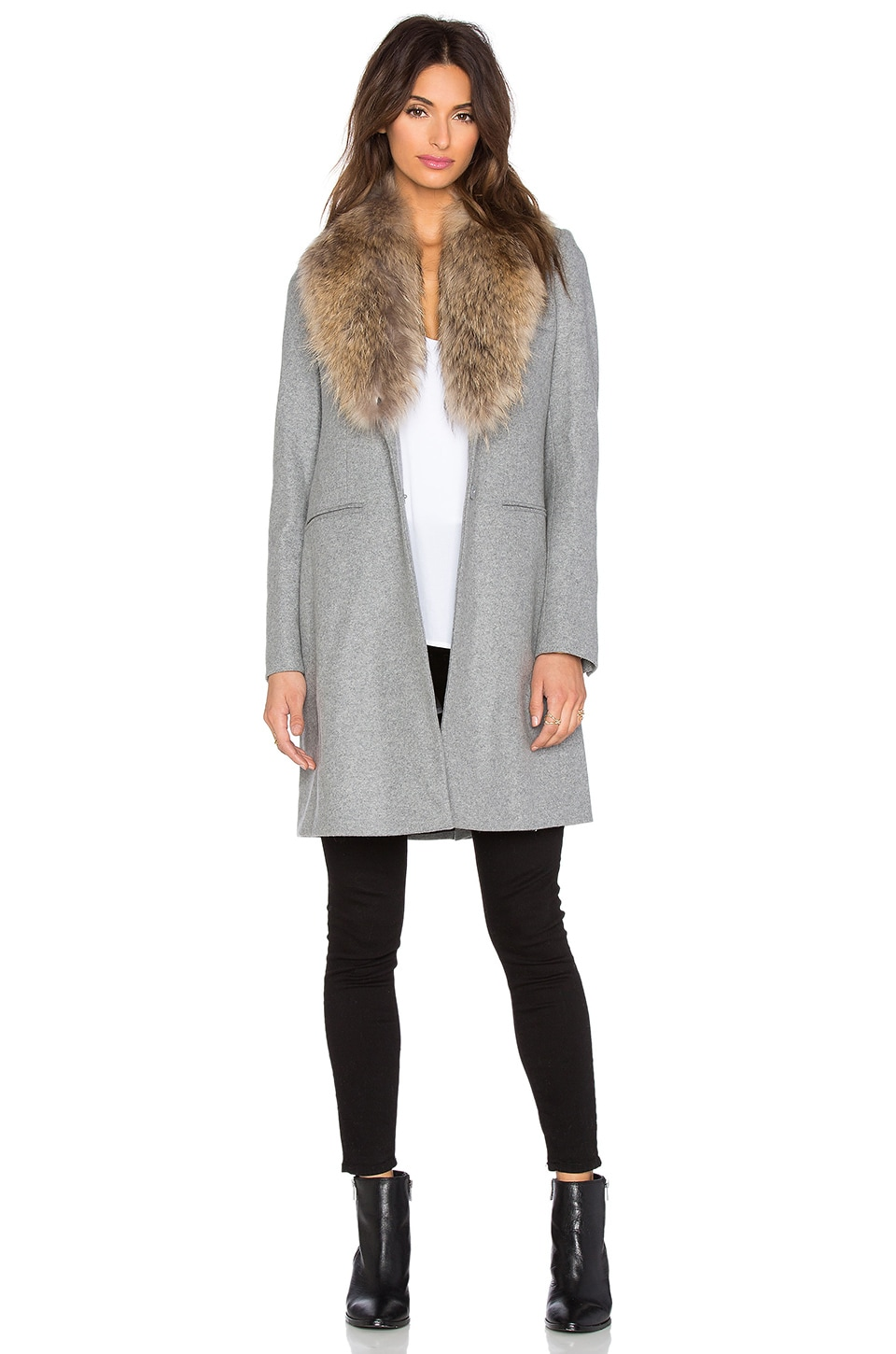 SAM. Crosby Asiatic Raccoon Fur Coat in Heather Grey