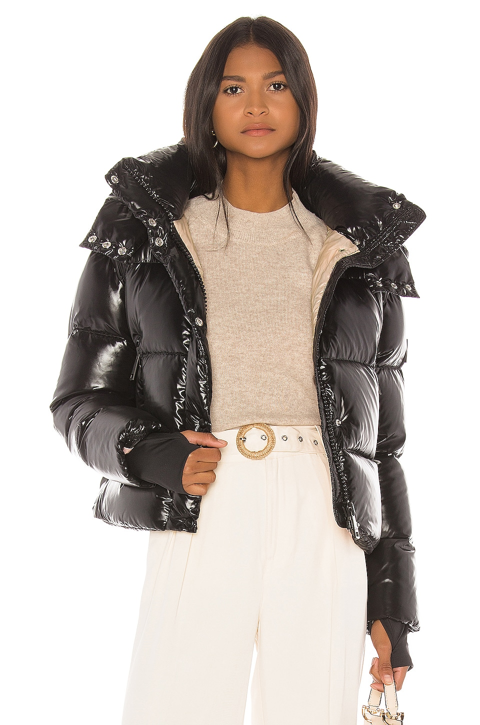 SAM. Jordy Cropped Puffer Jacket in Jet