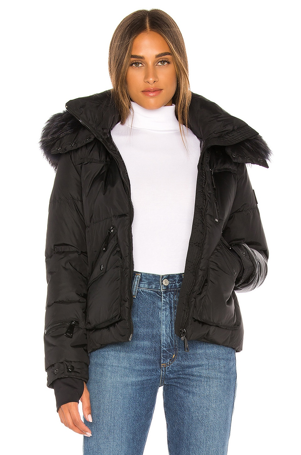 SAM. Detachable Fur Hood Jetset Puffer Jacket in Black & Charcoal