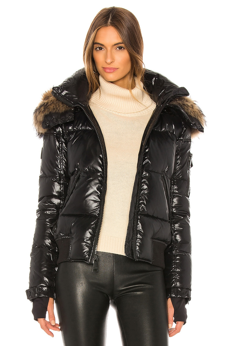 SAM. Dylan Detachable Fur Hood Puffer Jacket in Jet
