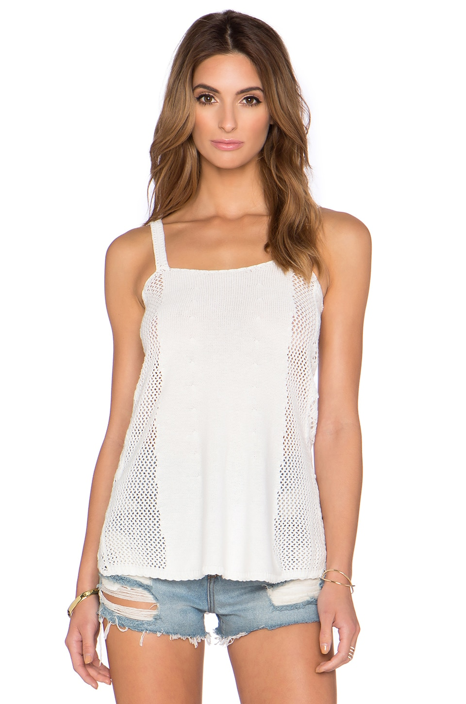 Sam Edelman Crochet Pointelle Tank in White