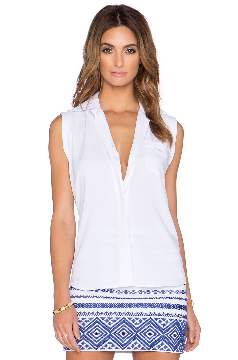Sam Edelman Collared Blouse in White