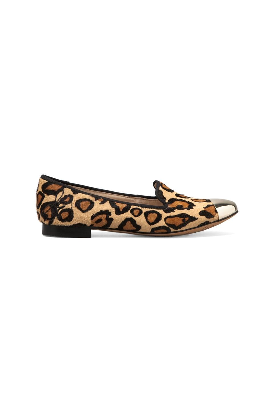 Sam Edelman Aster Flat with Calf Hair in New Nude Leopard/White Gold