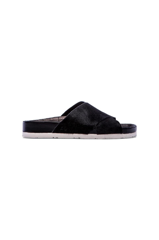 Sam Edelman Adora Sandal with Calf Fur in Black Brahma