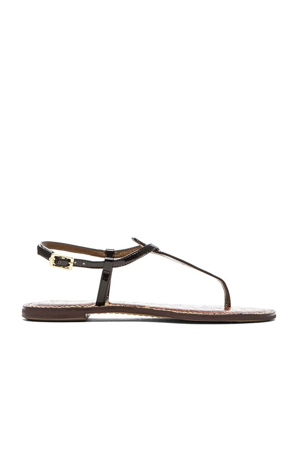 Women'S Gigi Leather Thong Sandals in Black Patent