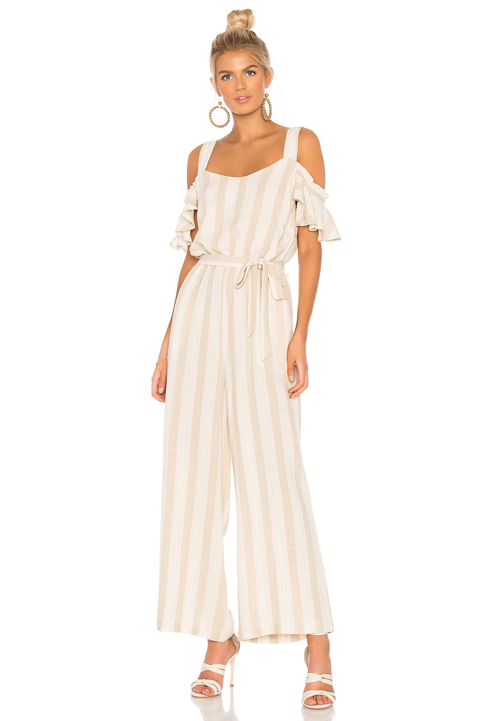 Chasing The Sun Striped Cold-Shoulder Jumpsuit in Linen Beige Stripe