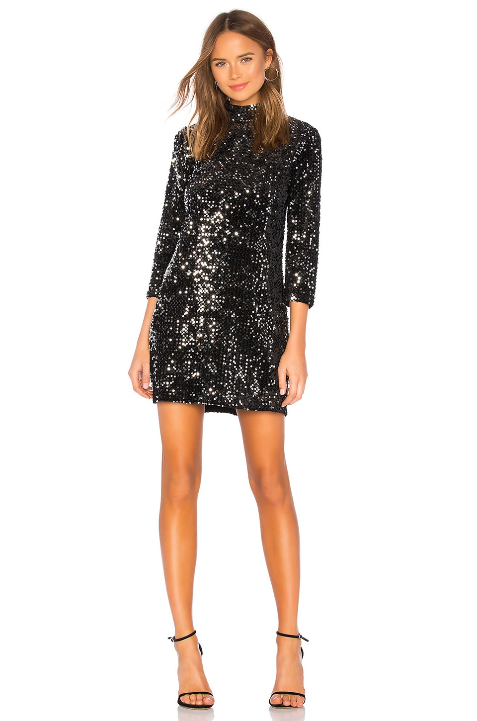 Sanctuary Keep Your Heads Up Sequins Shift Dress in Black & Silver