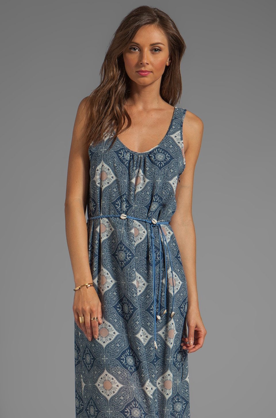 Sanctuary Le Ferme Mosaic Maxi Dress With Belt in Mosaic Tile