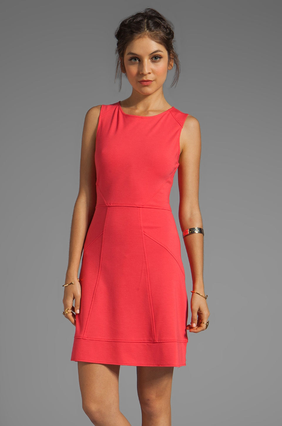 Sanctuary Black and White Cannes Seam Ballet Dress in Coral