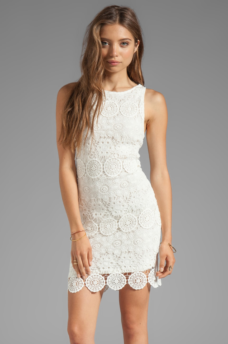 Sanctuary Modern Nomad Lace Shift Dress in White