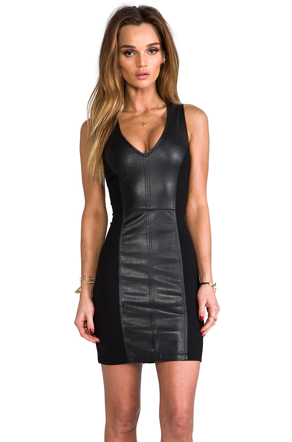 Sanctuary Vegan Leather Deep V Dress in Black
