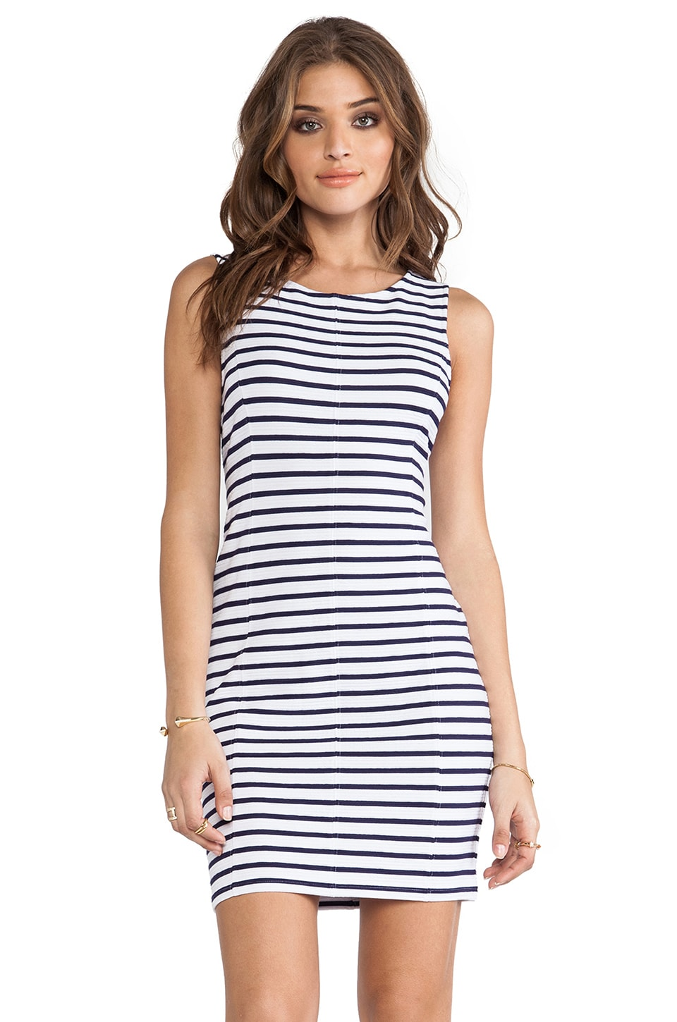 Sanctuary Spring Stripe Bodycon Dress in Navy Stripe