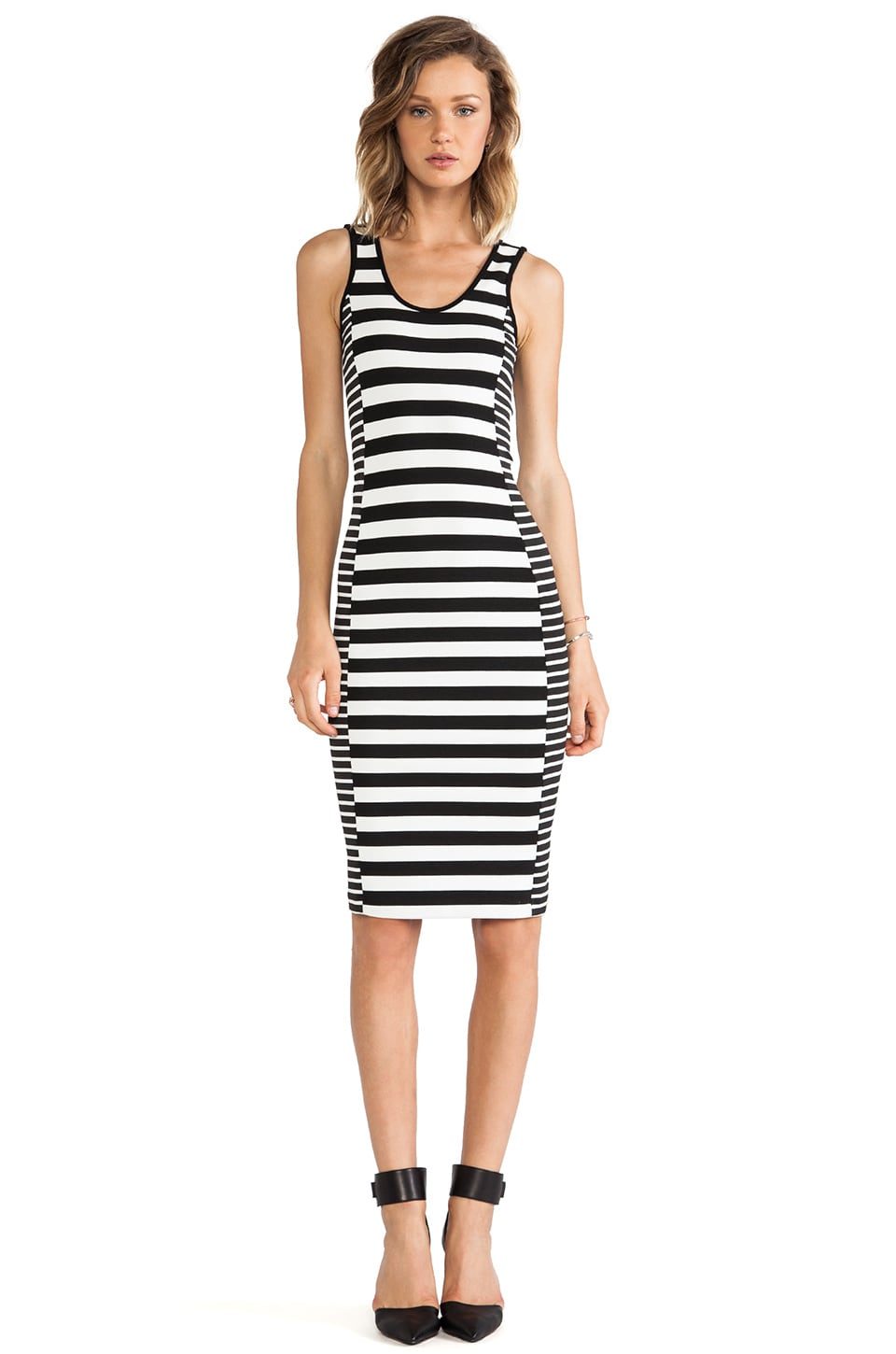 Sanctuary Graphic Bodycon Dress in Black & White