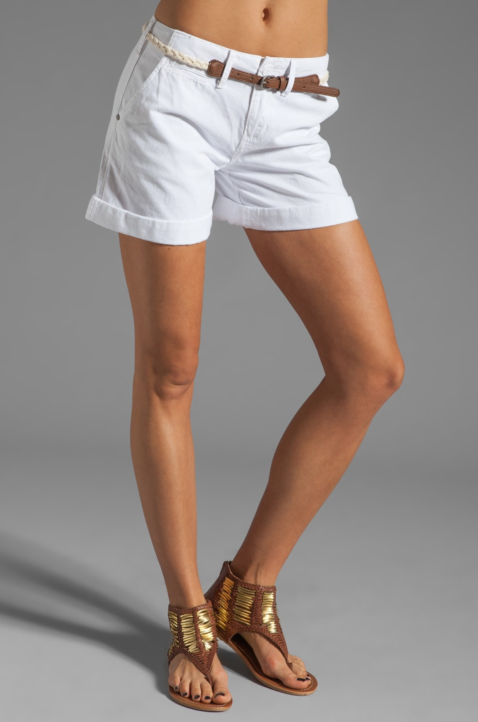Sanctuary Liberty Roll Short with Belt in White