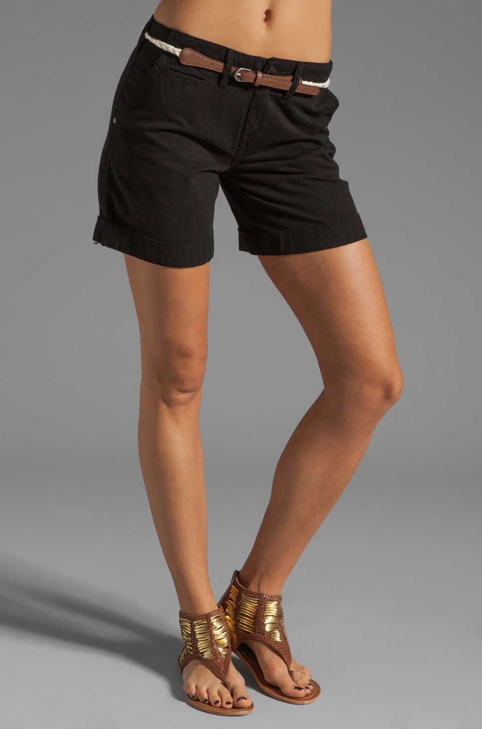 Sanctuary Liberty Roll Short with Belt in Black