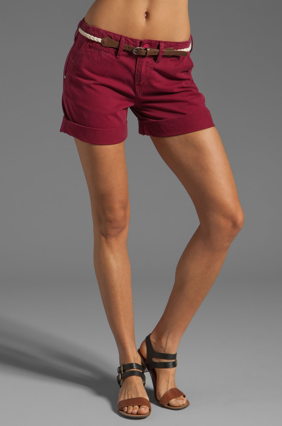 Sanctuary Liberty Roll Short with Belt in Burgundy