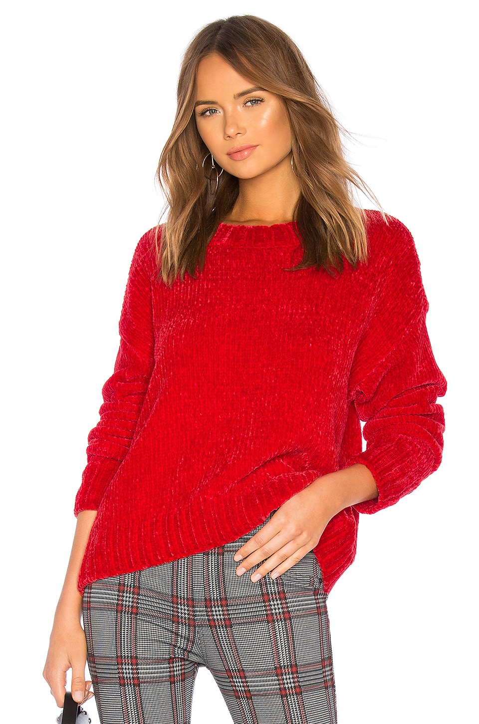 Sanctuary Chenille Pullover in Street Red