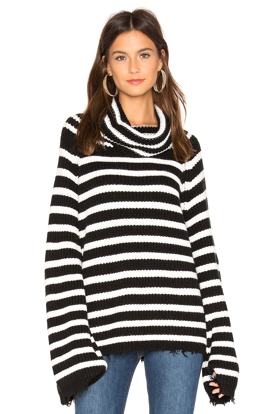 Sanctuary Jagger Cowl Neck Sweater in Black & Winter White