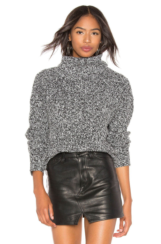 Sanctuary Roll Neck Sweater in Black & Winter White