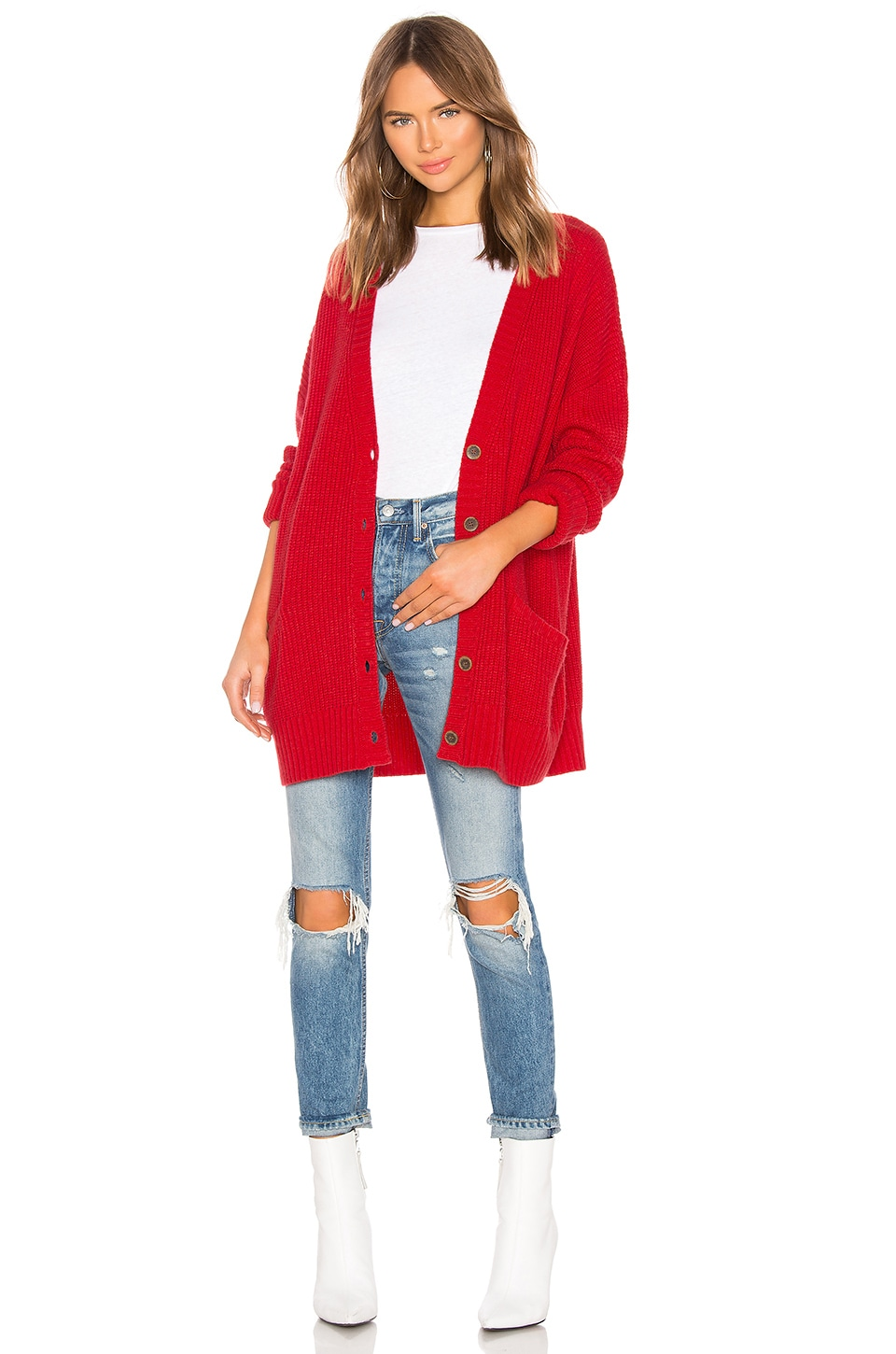 Sanctuary Keep It Cozy Cardigan in Poppy Red