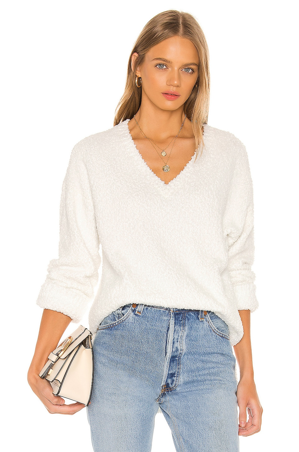 Sanctuary V-Neck Teddy Sweater in Opal