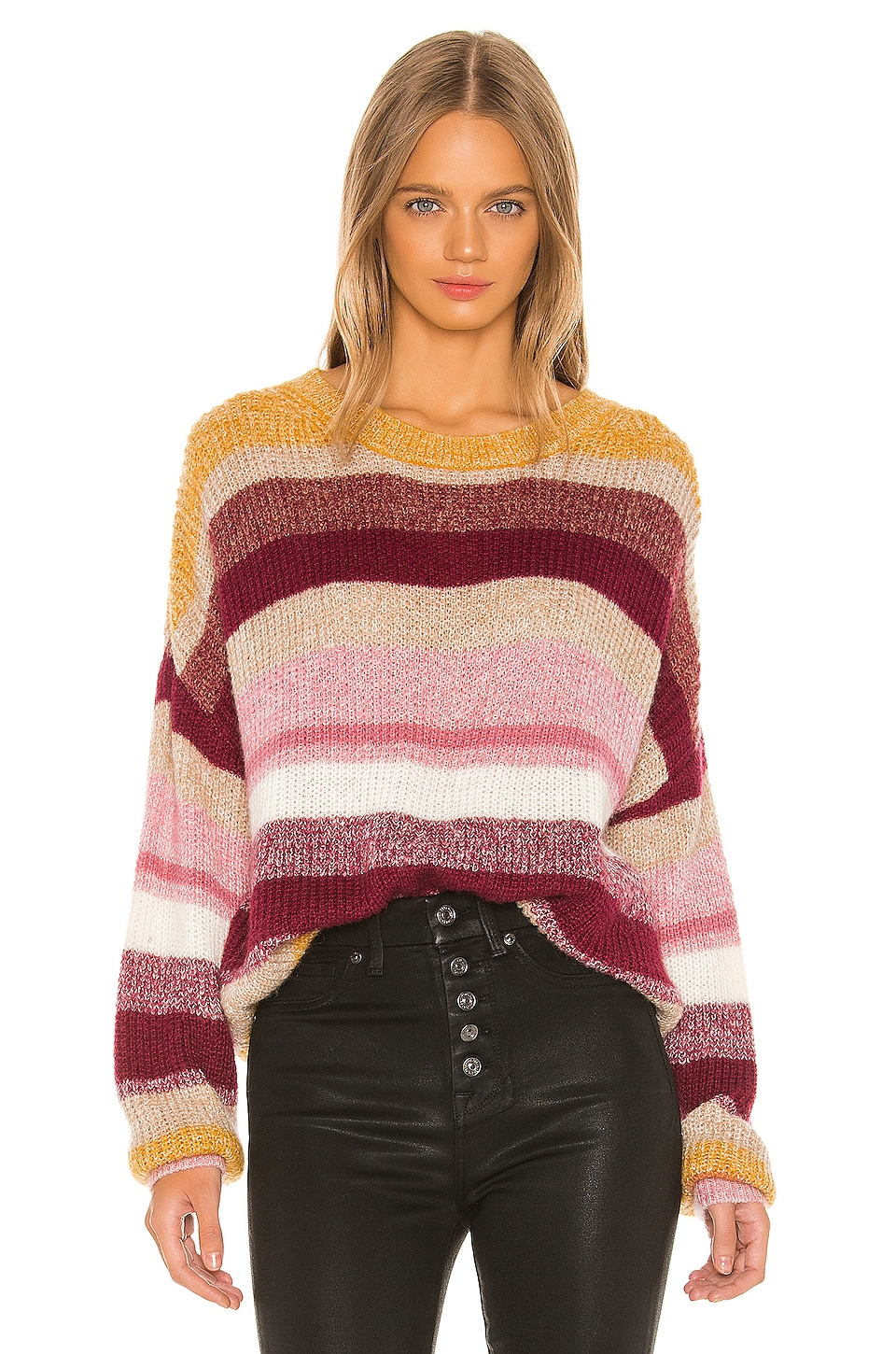Sanctuary Blur The Lines Striped Sweater in Garnet Stripe