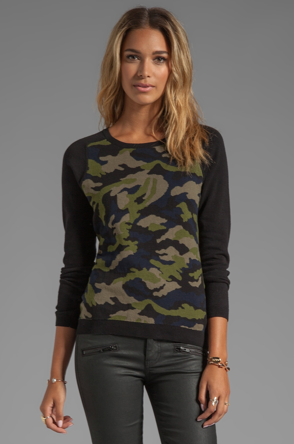 Sanctuary Camo Intarsia Sweater in Northern Green