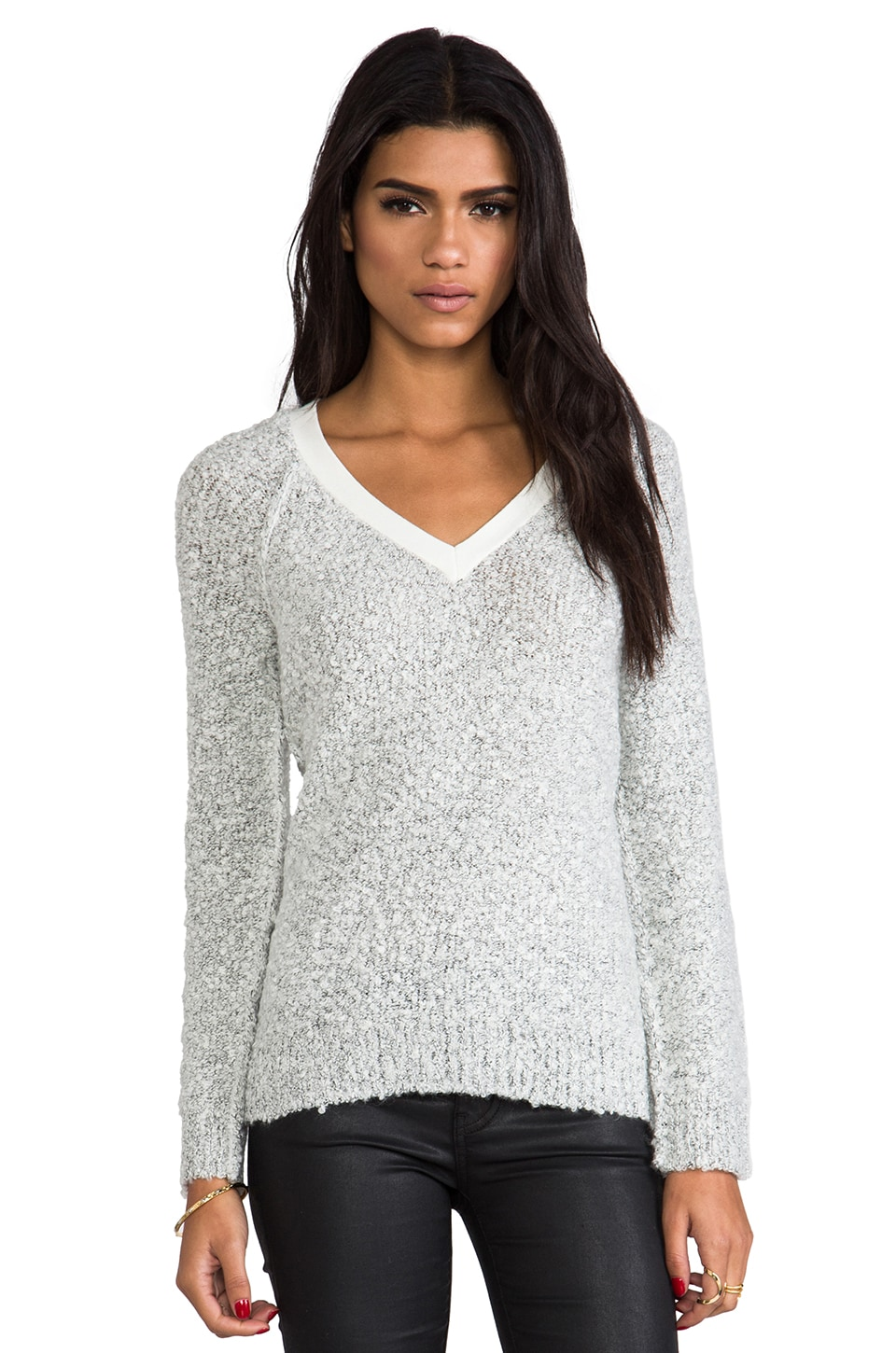 Sanctuary Winter V-Neck Sweater in Salt & Pepper