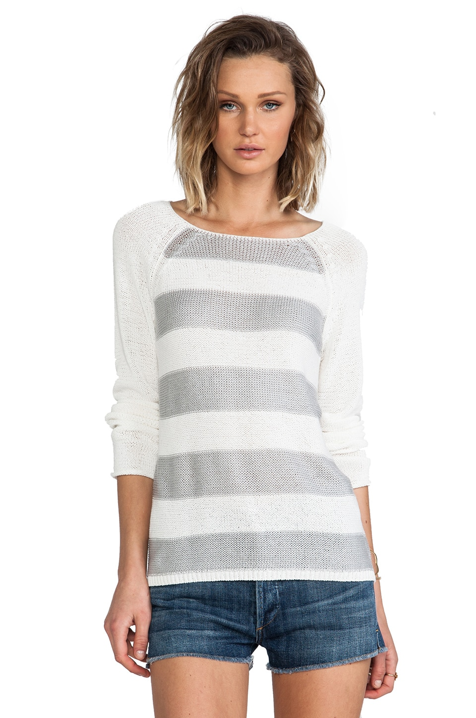 Sanctuary Baseball Stripe Sweater in Grey & White