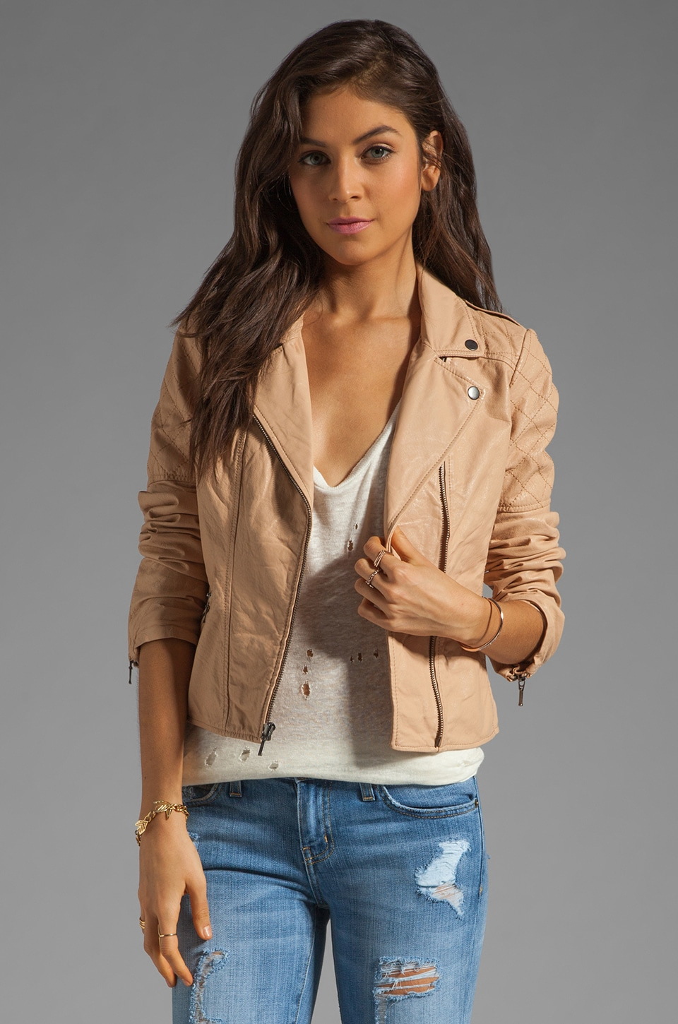 Sanctuary Leather Moto Jacket in Saddle