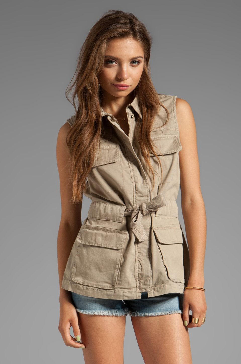 Sanctuary Safari in the City Safari Vest in Brittish Khaki