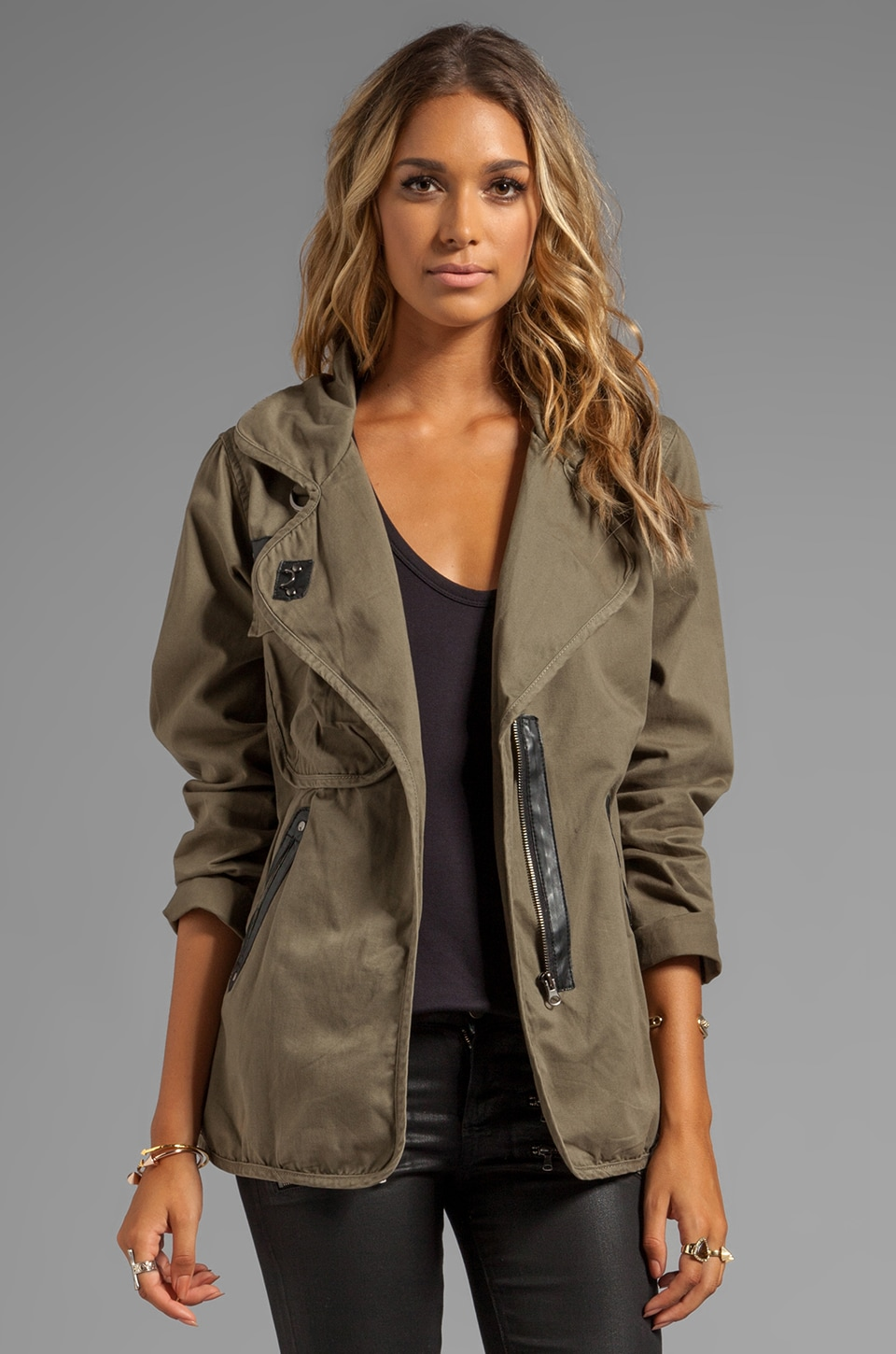 Sanctuary Stretch Fine Twill Slouch Army Jacket in Safari
