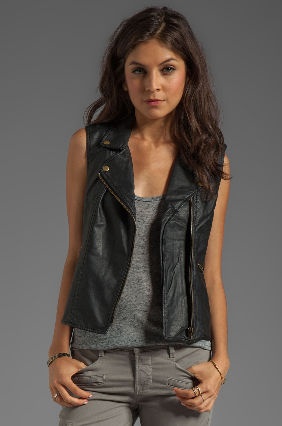 Sanctuary Vegan Leather Rebel Vest in Black