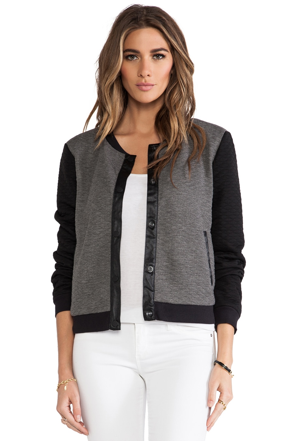 Sanctuary Quilted Soft Varsity Jacket in Stark