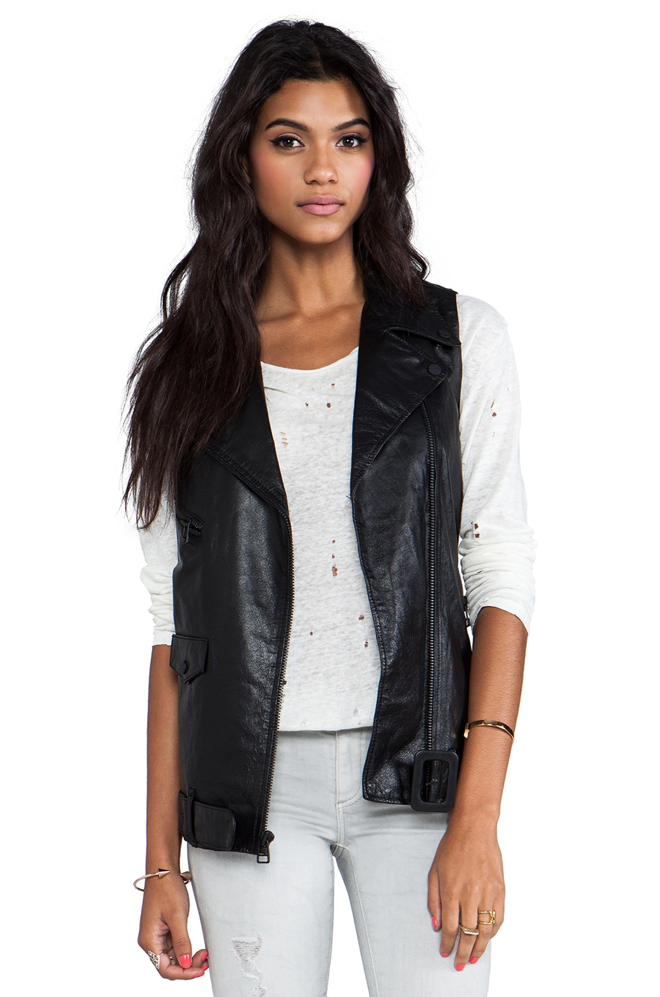 Sanctuary Leather Vest in Black