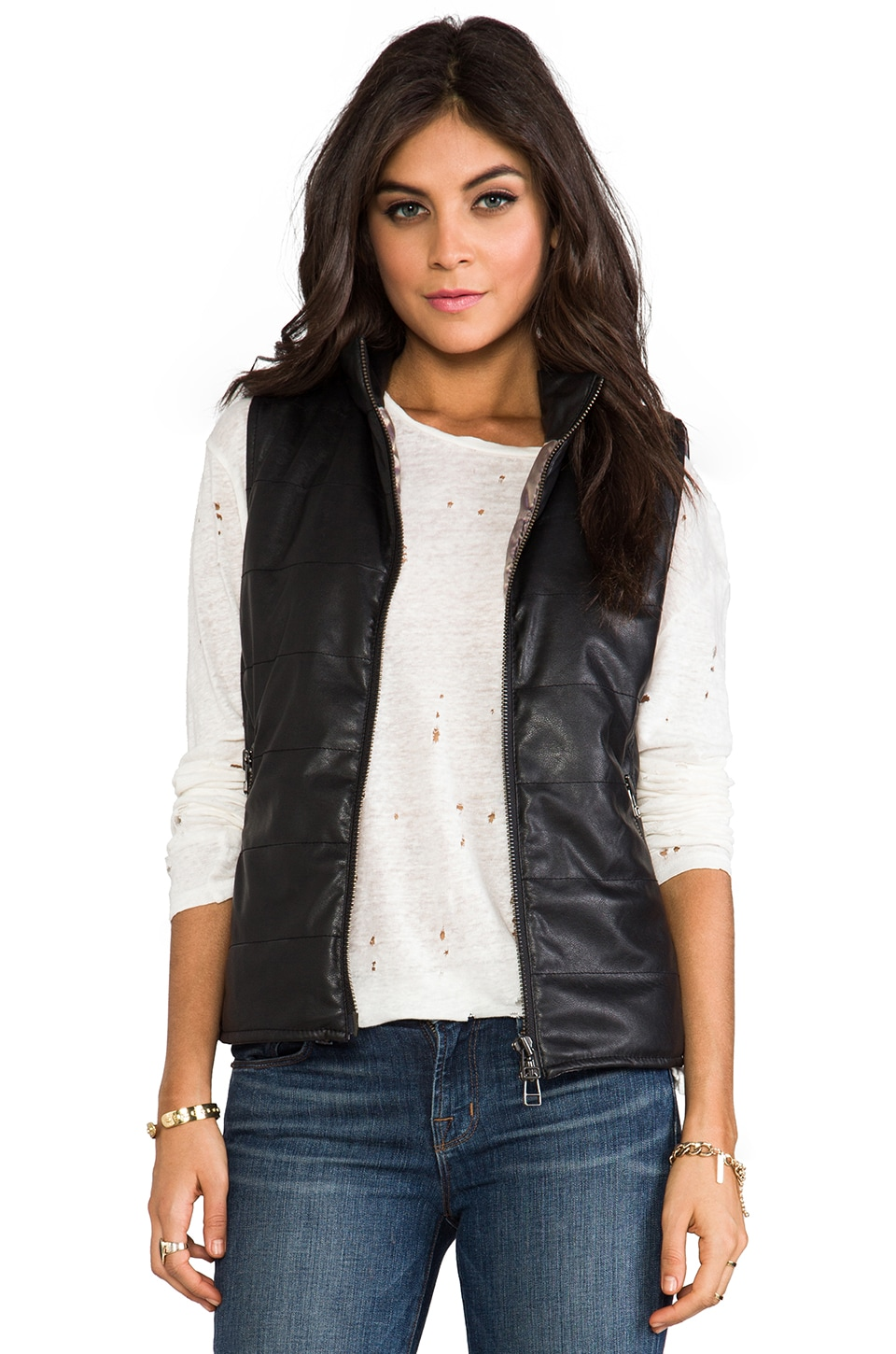 Sanctuary Vegan Leather Puffer Vest in Black