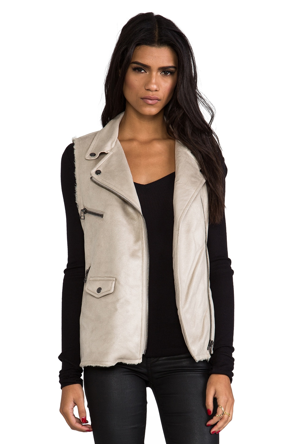 Sanctuary Vegan Leather and Faux Fur City Vest in Nude
