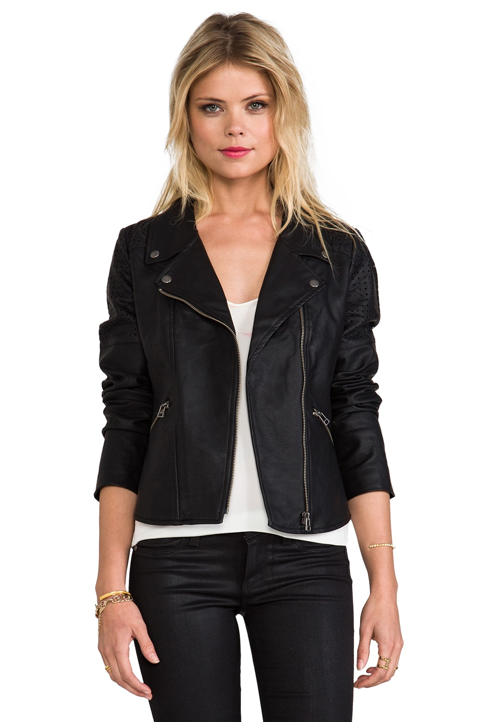 Sanctuary Vegan Leather Lazer Cut Moto Jacket in Black