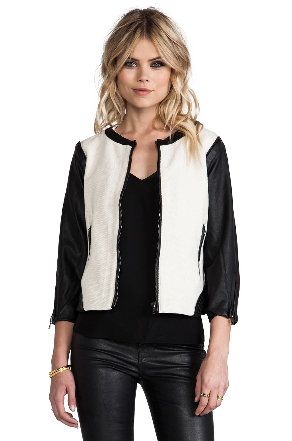 Sanctuary Mixed Vegan Jacket in White & Black