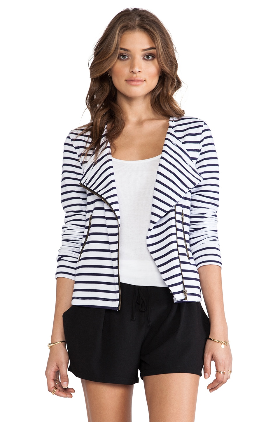 Sanctuary Prep Moto Jacket in Navy Stripe