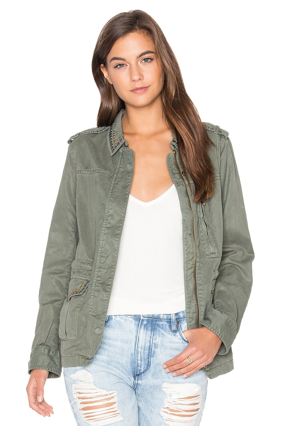 Sanctuary Studded Military Jacket in Military