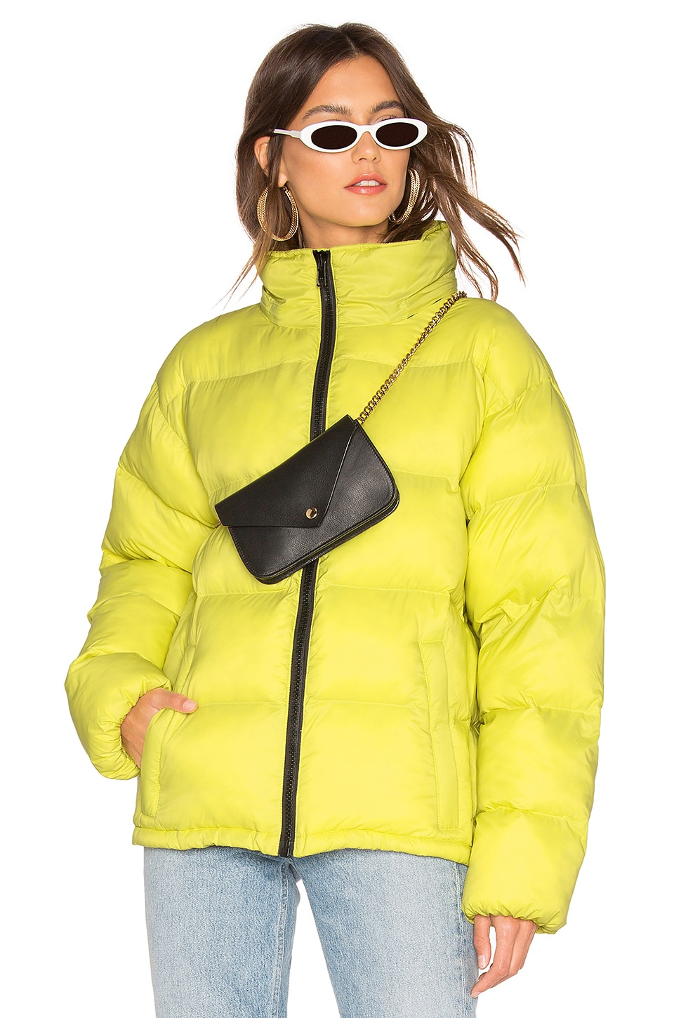 Sanctuary Just Chill Cropped Puffa Jacket in Acid Green